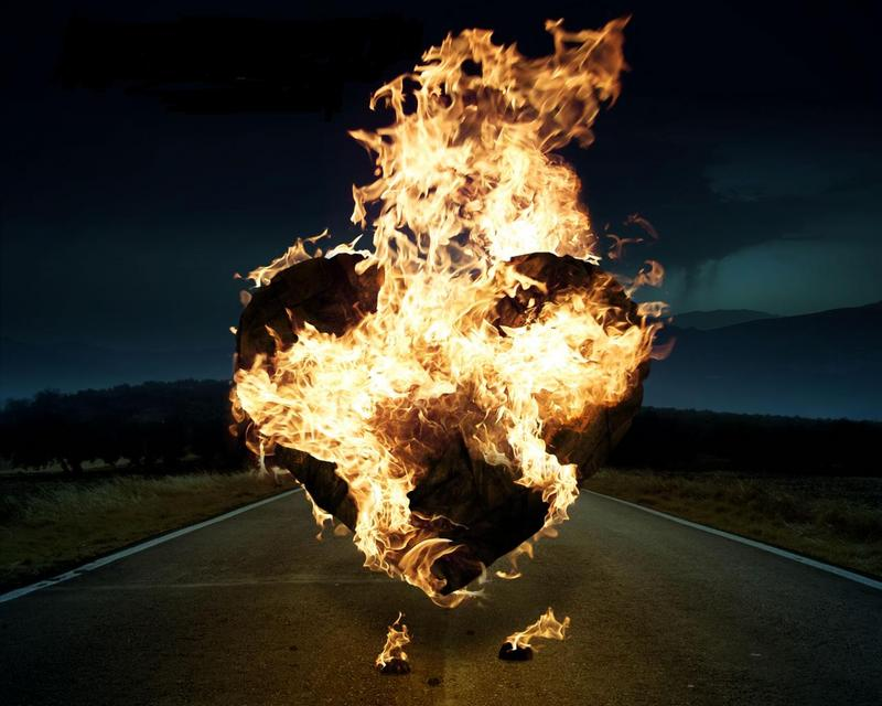 Flame-heart-road-burning